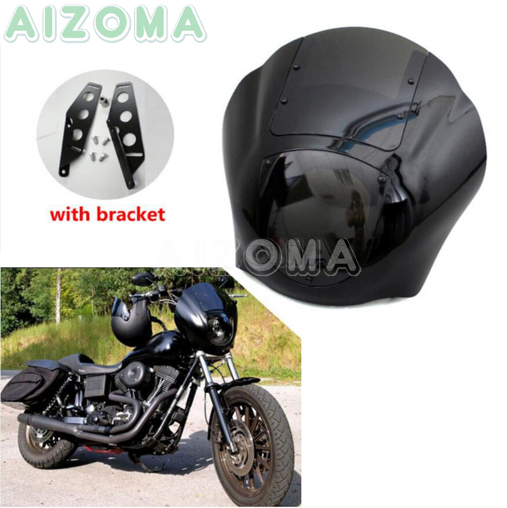 Smoke Motorcycle Quarter Front Headlight Fairing For Harley Dyna Low Rider Super Wide Glide 1986-2017 Sportster XL 1200 883 Iron