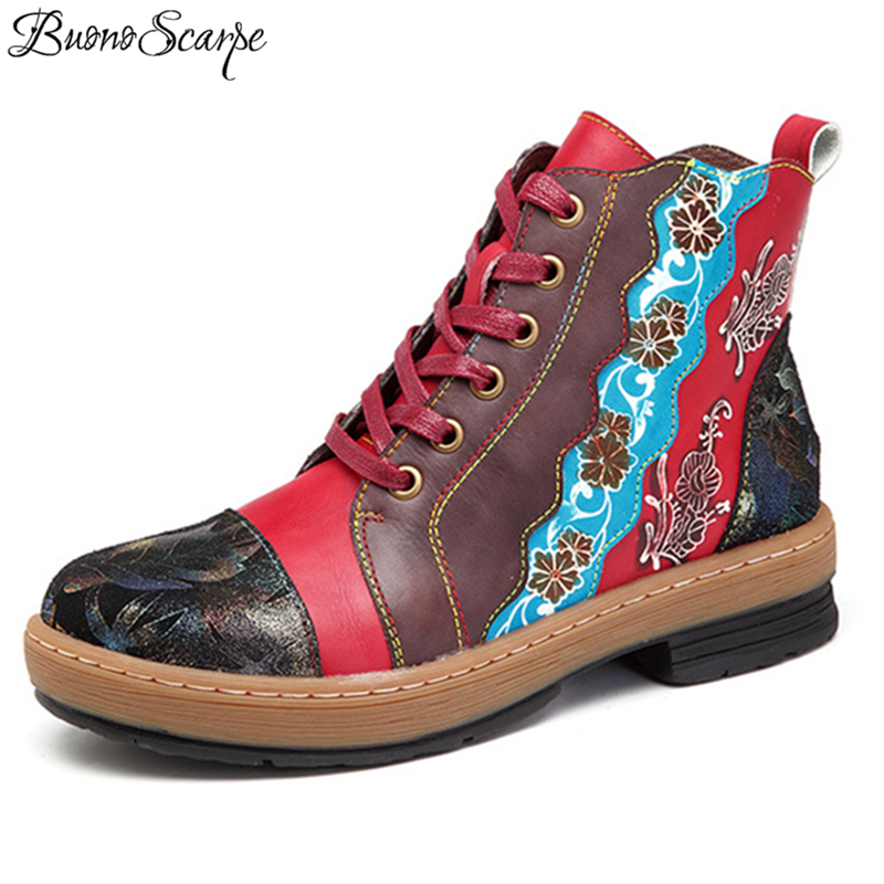 Buono Scarpe Women Lace Up Ankle Boots 2019 Side Zipper Patchwork Ethnic Short Boots Handmade Shoes