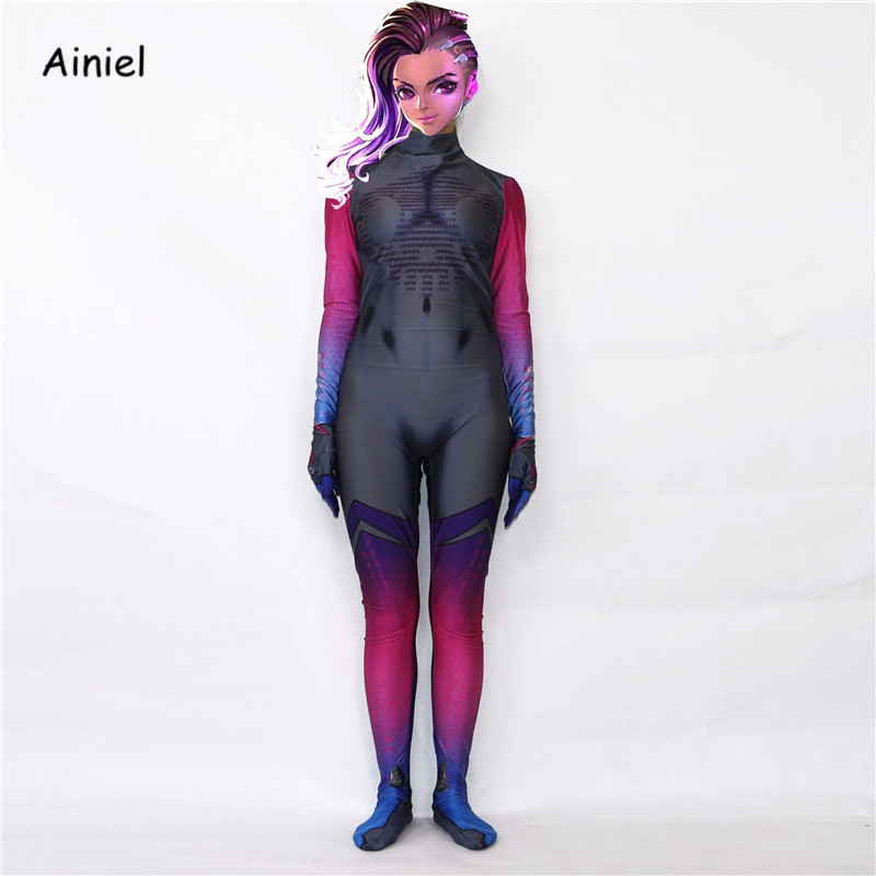 Ainiel DVA Cosplay Costume 3D Printed Lycra Spandex  Overwatches dva  Zentai D.VA Catsuit Holloween Jumpsuit  Kids Girls Women