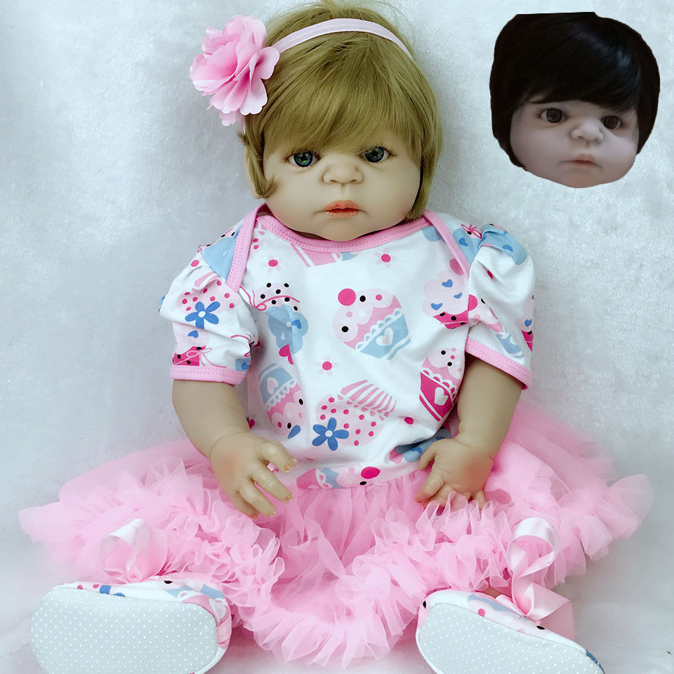 57 cm Full Silicone Reborn Baby Doll Girl Toys Lifelike 23 inch Babies Doll Full Vinyl Fashion Princess Bebe Reborn kids Partner silicone vinyl reborn baby doll toys lifelike soft doll reborn babies pink princess toys for childs kids new design