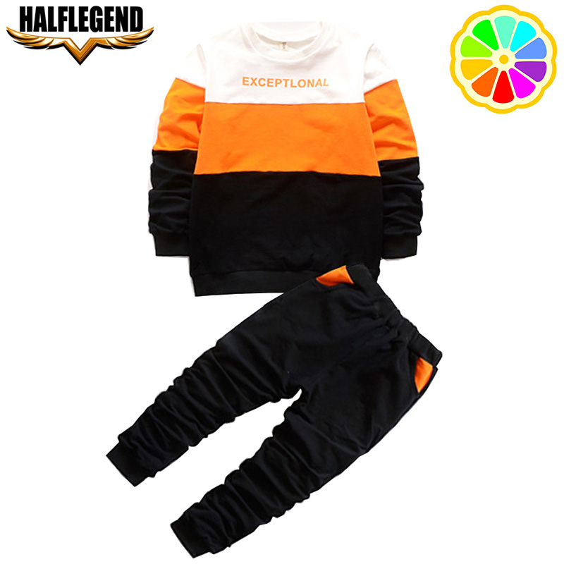 2018 Spring Kids Clothing Sets Sports Long Sleeve T-shirt Pants Boys Clothes Suits Patchwork Children for 6-10 11 12 13 Years kids clothing sets 2015 winter new boys girls clothes bow tie t shirts pants boys clothes children long sleeve sports suits page 3