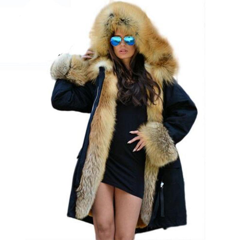 Real Fur Coats For Women Red Fox Fur Coat Lining Rabbit Fur coat Waterproof Fur Parkas For Women Winter Jackets
