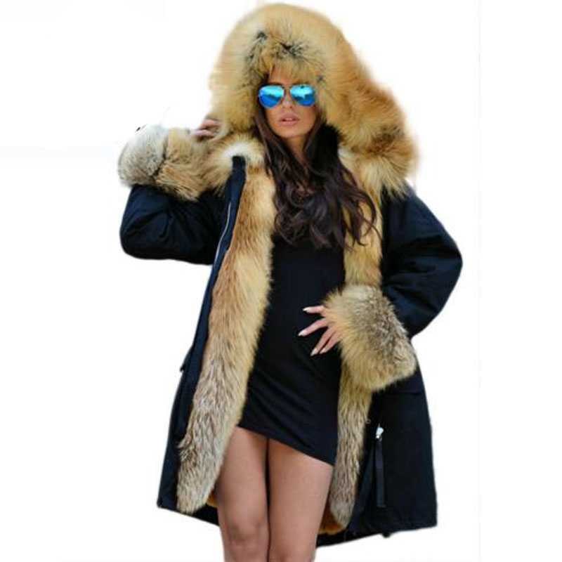 Real Fur Coats For Women Red Fox Fur Coat Lining Rabbit Fur coat Waterproof Fur   Parkas   For Women Winter Jackets