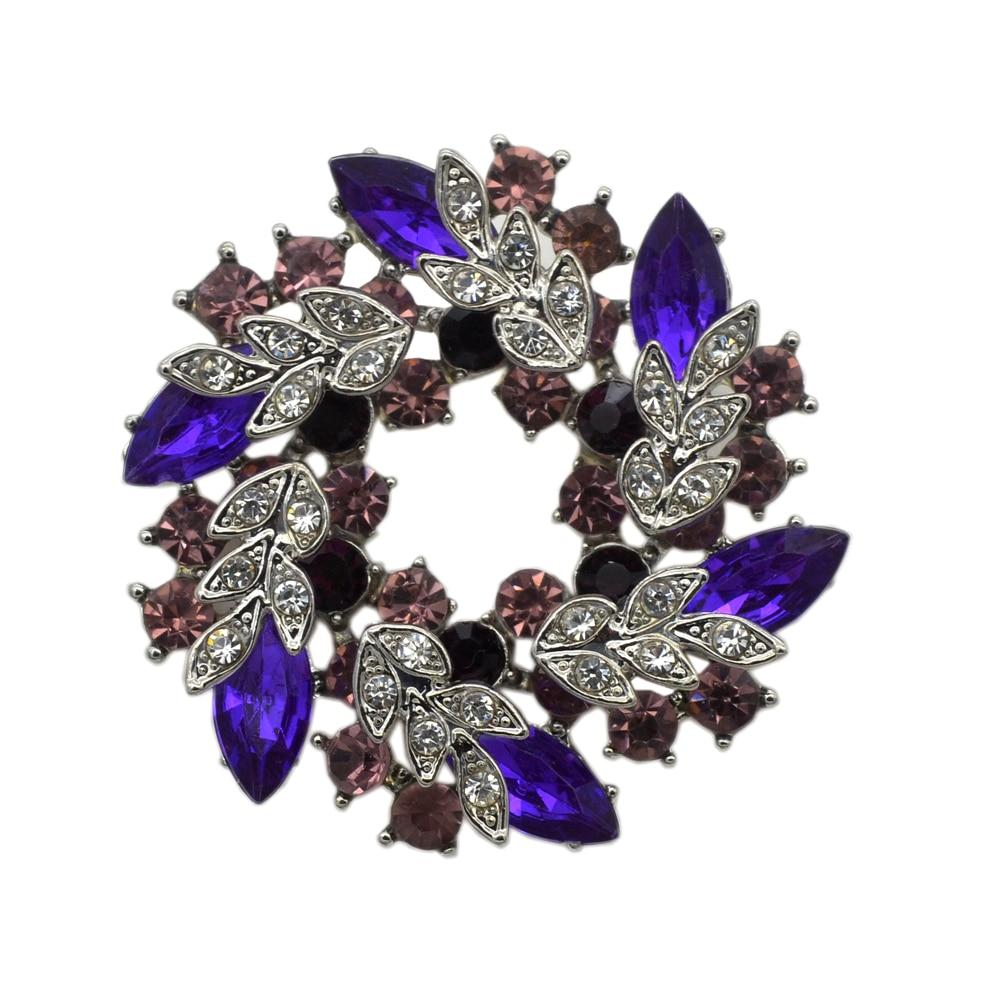 Модные посеребренные фиолетовые стразы, кристалл большие свадебные украшения брошь с завитками булавка