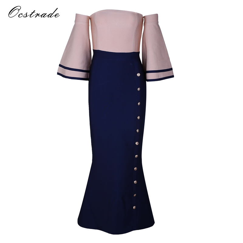 Ocstrade Woman Party Dress 2017 with Batwing Sleeves Nude and Navy Blue Elegant Off the Shoulder Mermaid Vestidos Bandage Dress