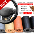 Free Shipping BACANO Truck Bus SUV Genuine Leather Steering Wheel Cover,   47cm 50cm ,DIY Handmade Case With Needles and Thread