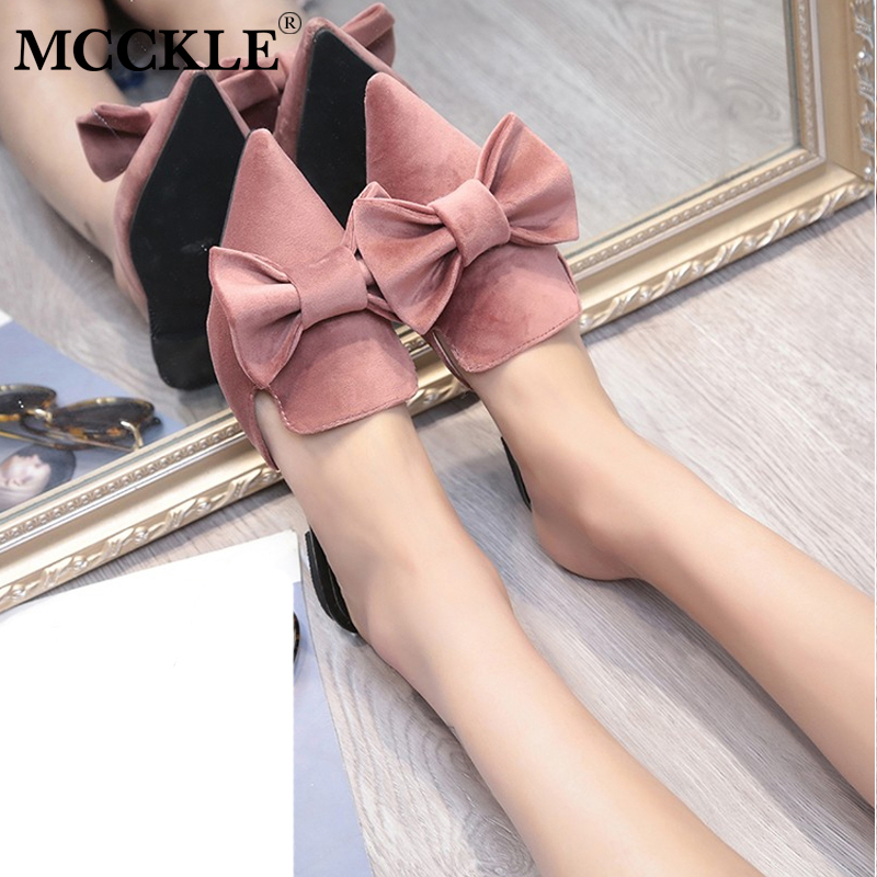 MCCKLE Women Bowtie Slip On Slippers Female Flat Flock Pointed Toe Low Heel Summer Shoes Sweet Mules Ladies Footwear Comfortable xiaying smile summer women sandals casual fashion lady square heel slip on flock shoes pointed toe cover heel lace bowtie shoes page 1