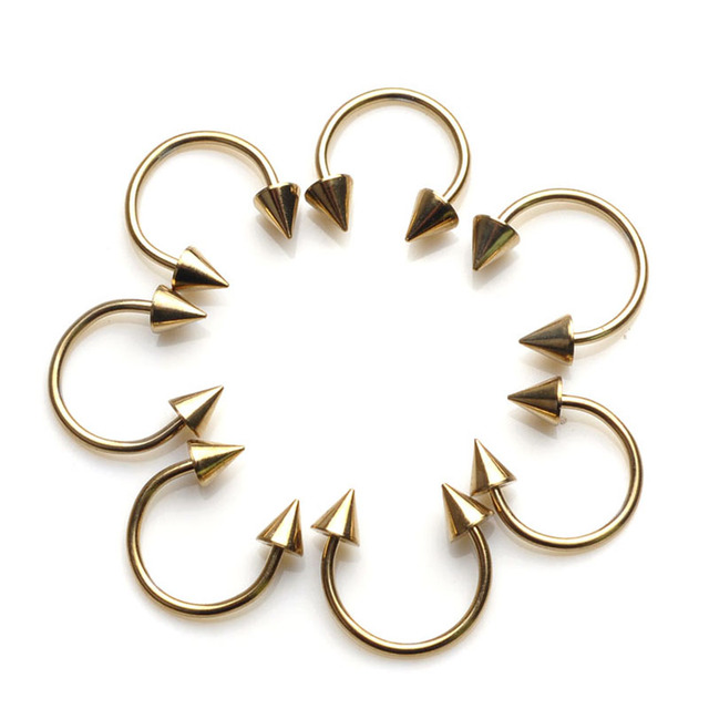 Cone Spike Horseshoe Circular Ring 5 pcs Surgical Steel Labret Nipple Hoops Nose Septum Eyebrow Piercing Body Jewelry 8mm 10mm 5
