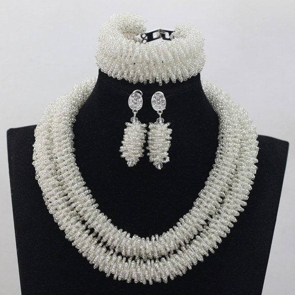 Shinny Silver African Wedding Bridal Necklace Set Nigerian Handmade Crystal Seed Beads Jewelry Set 2017 New Free Shipping QW523 new arrival for lexus rx200t rx450h 2016 2pcs stainless steel chrome rear window sill decorative trims