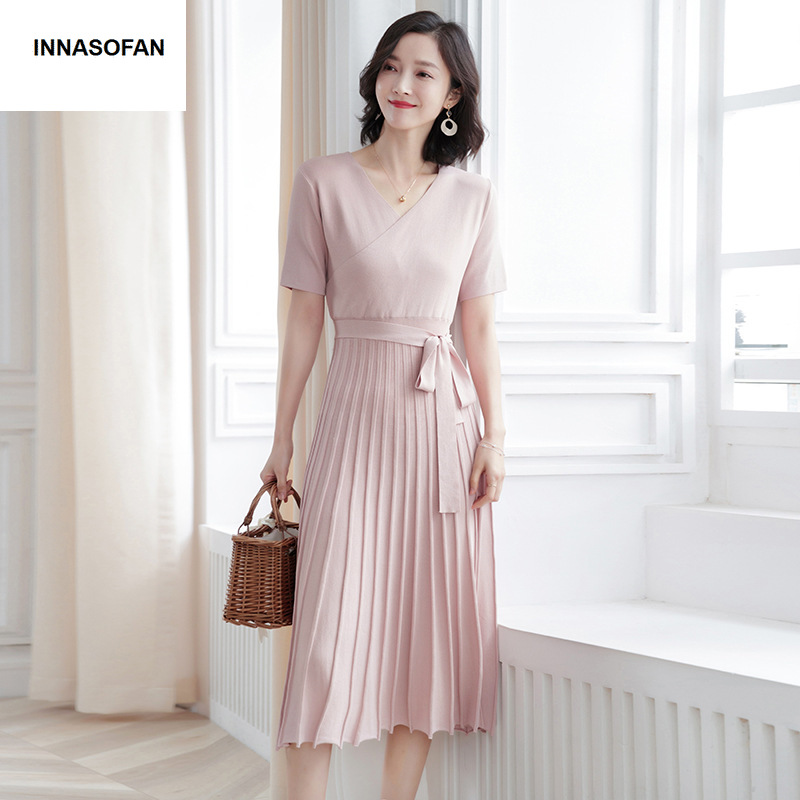 INNASOFAN women s pleated dress Spring summer knitted dress Euro American fashion elegant dress with short