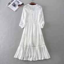 white party women dress sexy boho dress 2018 Spring new deep v-neck Lace stitch dresses Elegant long Sleeve women brand clothing