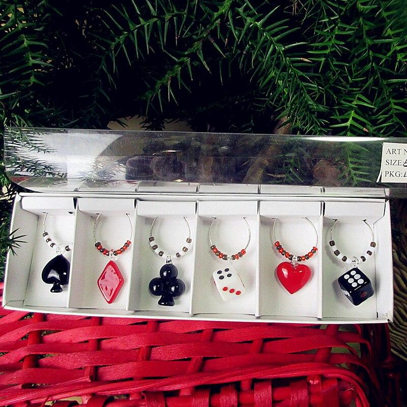 6pcs of custom poker pattern glass ring pendant jewelry wedding party wine glass decorative charm - Poker Sets
