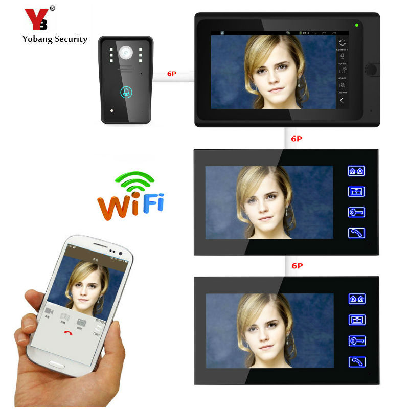 Yobang Security 7inch 3 Monitors Wired / Wireless Wifi IP Video Door Phone Doorbell Intercom Entry System With 1000TVL Wired Cam