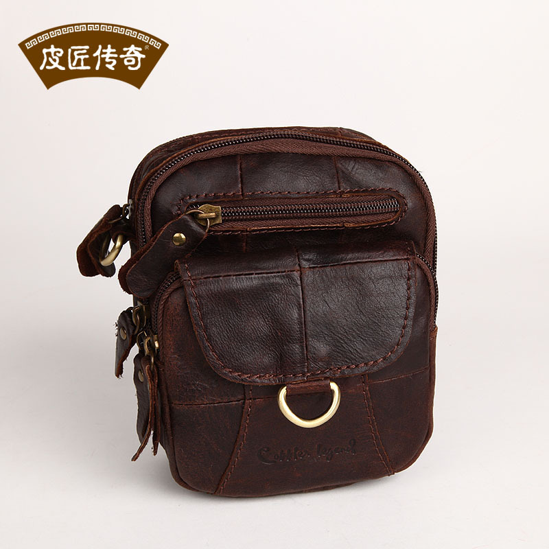 ФОТО Quality ! Genuine Leather Messenger bag leather fashion vintage butter fashion brief small waist pack 06211 - 1