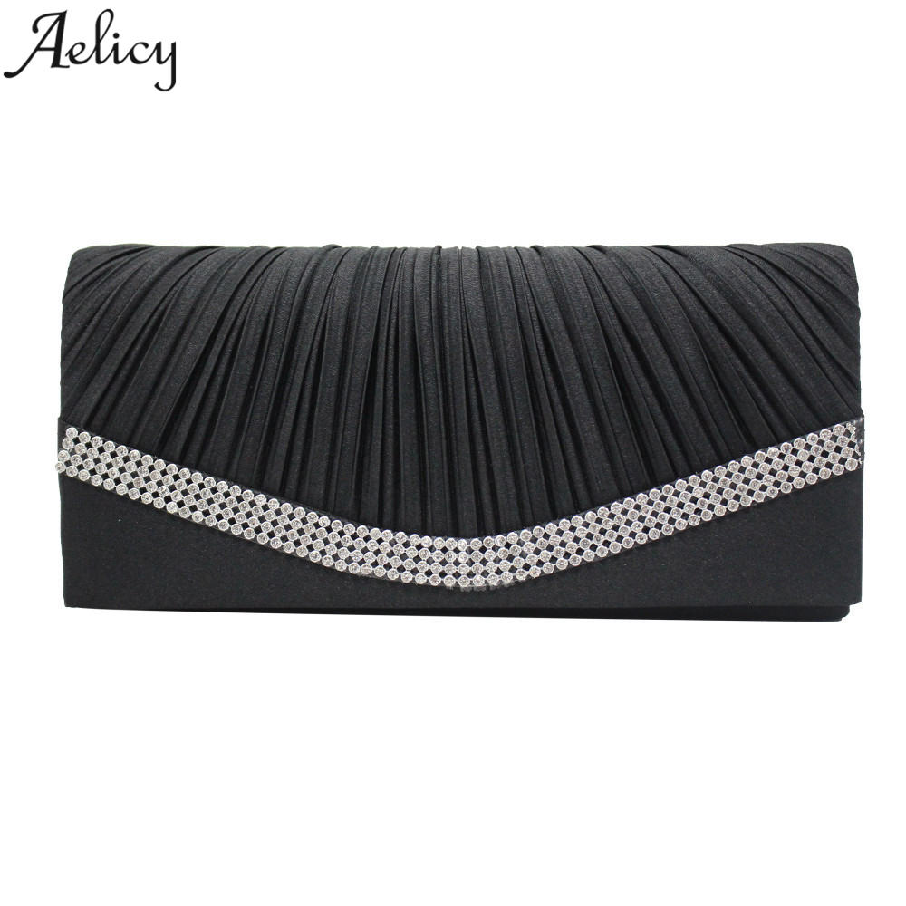 Aelicy Women Satin Rhinestone Evening Clutch Bag Ladies Day Clutches Purses Chain Handbags Bridal Wedding Party bolsa feminina(China)