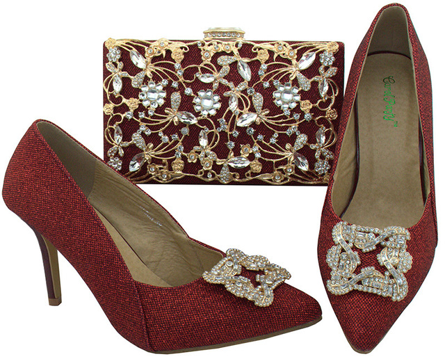 SB8083-3 elegant heel shoes lady with matching clutches bag evening bag  wine red color b2668e07d078