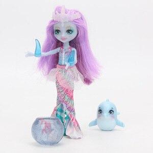 Image 2 - Enchantimals Bambole Giocattoli FKV54 Dolce Delfino Largq Jessa Medusa Marisa Clarita Pagliaccio Schiamazzare Figure Set Modello di Bambola di Moda