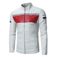 Новая мужская Тонкая Красивая мотоциклетная куртка со стоячим воротником, корейская модная цветная куртка из искусственной кожи с буквенн...