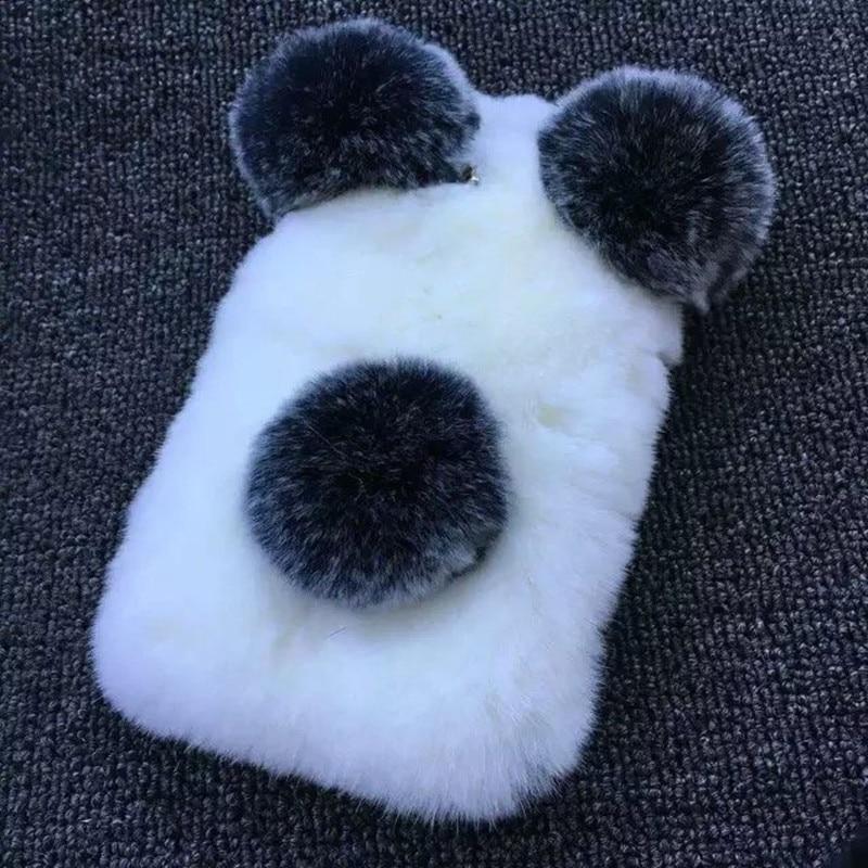 Цена за Люкс 100% Реального Мягкие Волосы Кролика Panda чехол для Телефона Для Samsung S3 S4 S5 S6 S7 A3 A5 Примечание 3 4 Зима Теплая Пушистый Волос саппу пункт