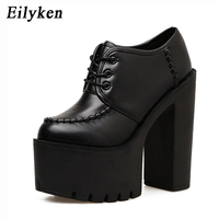 Eilyken Fashion Women Shoes Square heel Sewing Round Toe Platform Shoes For Party Outerwear Lacing Ladies Pumps 2018 New Autumn
