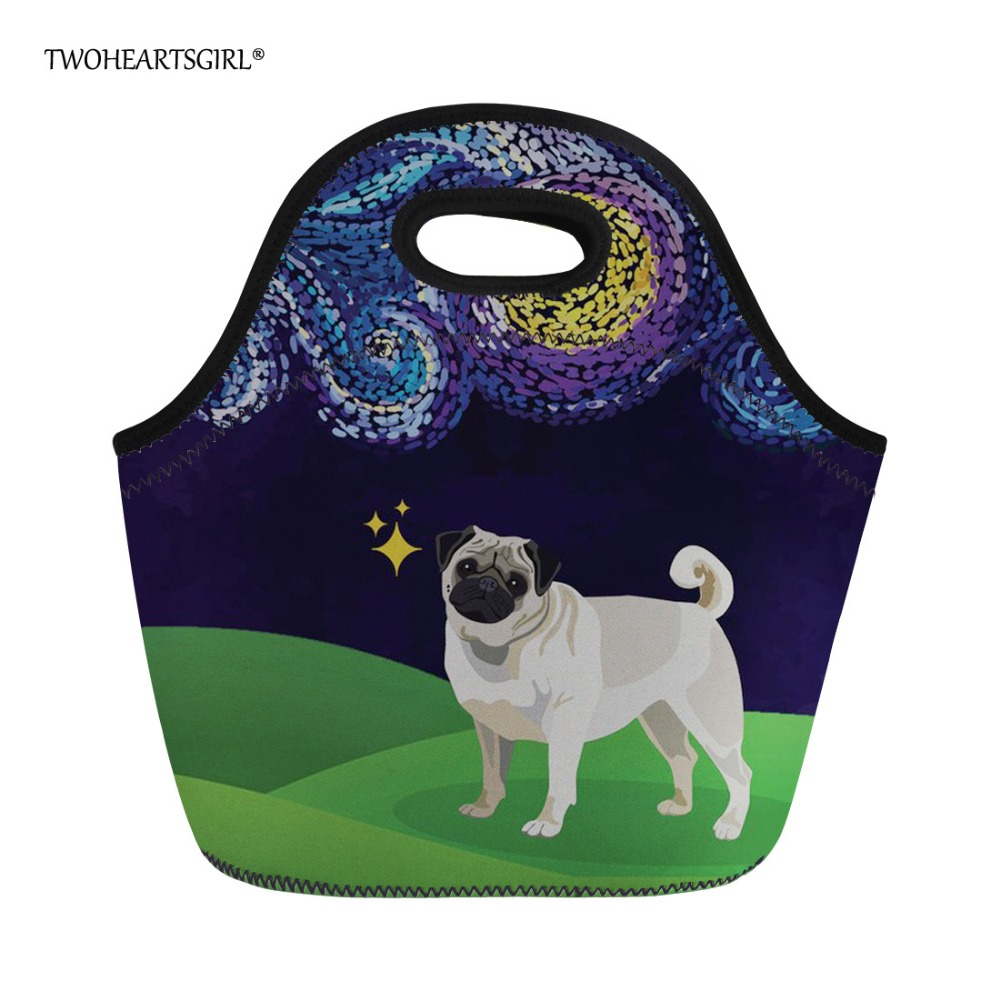Twoheartsgirl Neoprene Lunch Bag for Women Cute Puppy Pug Dog Thermal Lunchbox Thermo Lancheira Kids Girls Cooler Food Bag