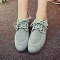 2015 Chegada Nova Verão Mulheres Apartamentos Calcanhar Robusto Jeans Lace Up Low Cut Moda Denim Casual Sapatos Tamanho 35-39 SXQ0628