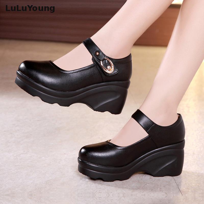 Ronde forme Femmes À Chaussures Coins Hauts Talons Tête Noir Plate npHpw4qY