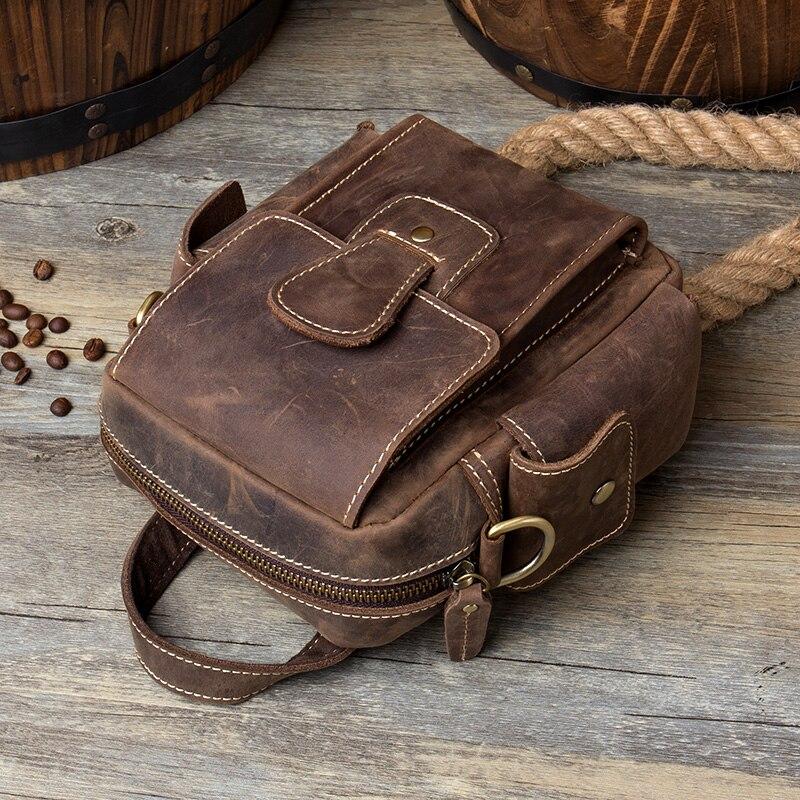 Crazy Umhängetaschen Horse Tasche Vintage Männlichen Bags Kleine Schulter Leder Männer Lapoe Brown Messenger Echtes Fwd5q7xFX
