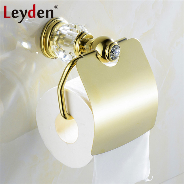 Leyden Luxury Golden Brass Crystal Toilet Paper Holder European Royal Wall Mounted Tissue Bathroom