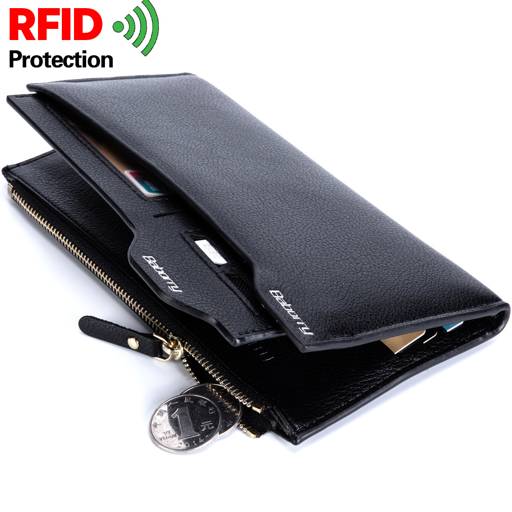 BABORRY 2018 Luxury Brand Men Wallets RFID Long Men Purse Wallet Male Clutch Leather Zipper Wallet Men Business Male Wallet Coin