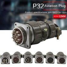 P32 Aviation Connector Plug Socket 4pin 8pin 10pin 12pin 14pin 19pin 32M Metal Round Connectors for Industrial Equipment