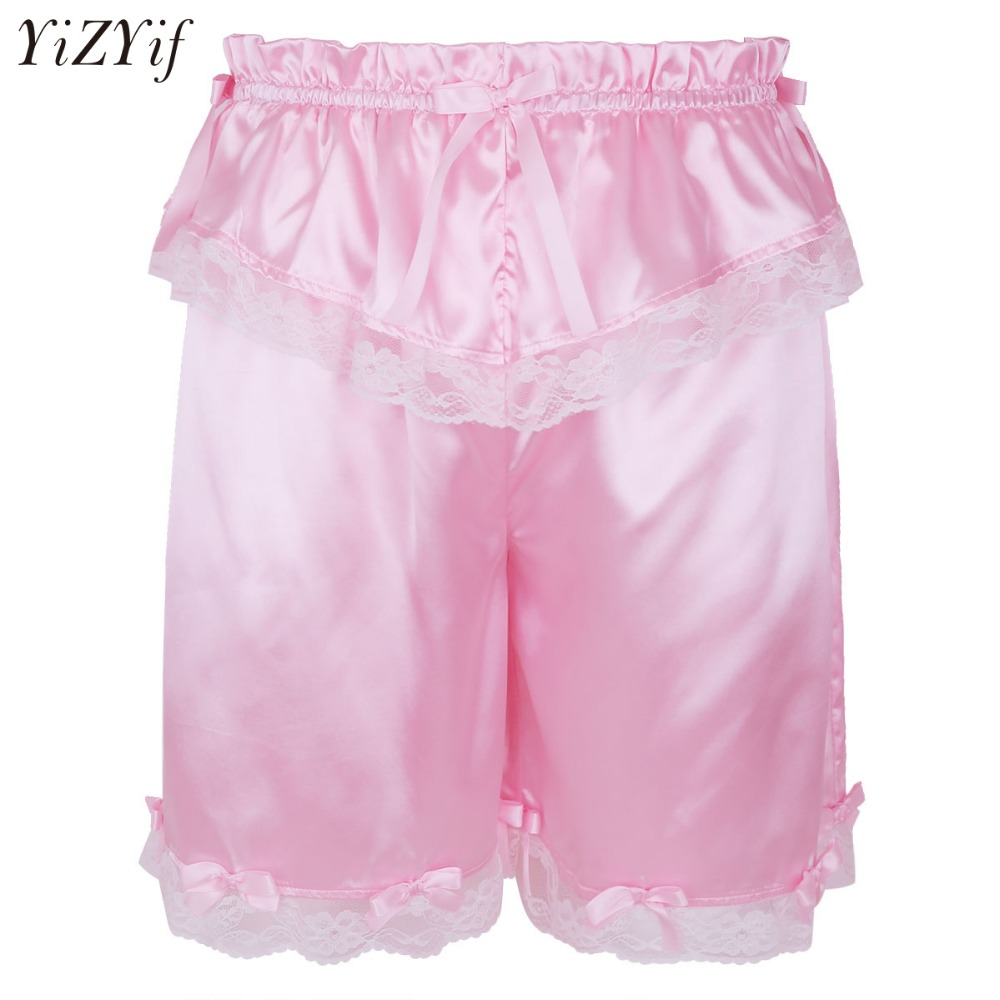 YiZYiF Sexy Mens' Lingerie Silky Frilly Sissy Pink French Maid Bloomers Panties Gay Sleep Bottoms Lovely Lace Crossdress Shorts