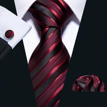 New Wedding Men Tie Red Striped Fashion Designer Ti