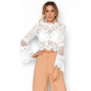 Para las mujeres de moda encaje Casual Tops ahuecan hacia fuera la Blusa de manga larga túnica top señoras noche ulzzang modis camisas mujer blusas A20
