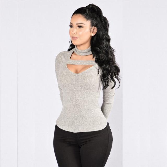 838d40a689fce 2017 mujeres ropa nueva moda mujeres sexy señora Slim manga larga Tops  blusa camisa cuello alto