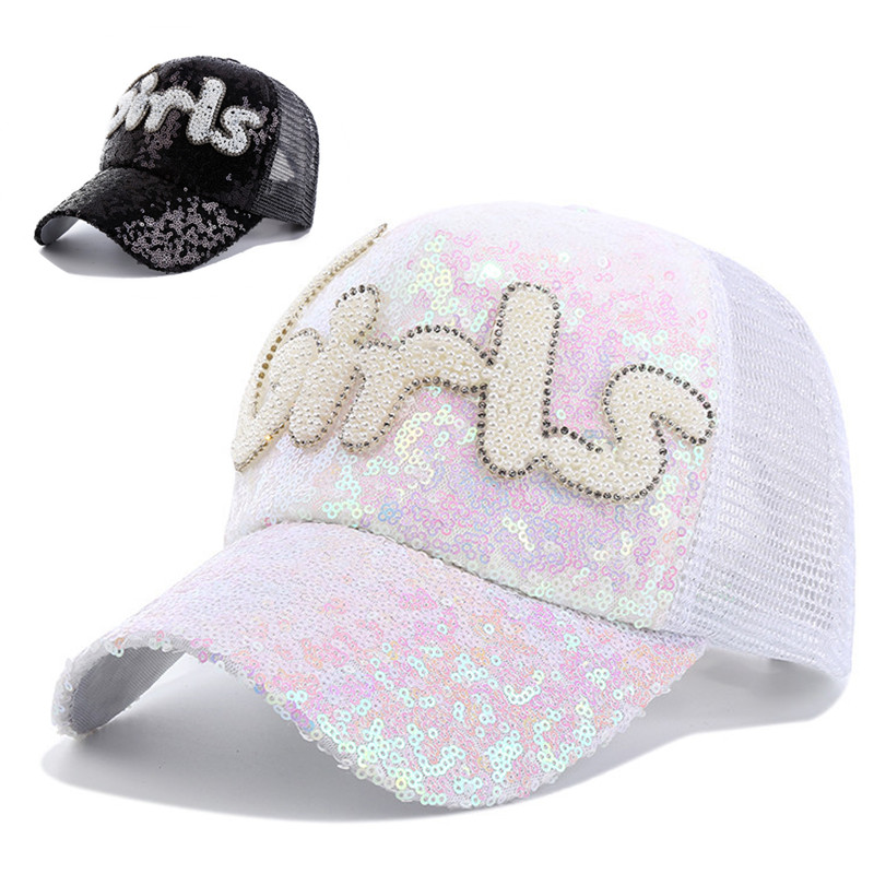 ladies sequin baseball caps assortment unisex font shining hat cap sparkly