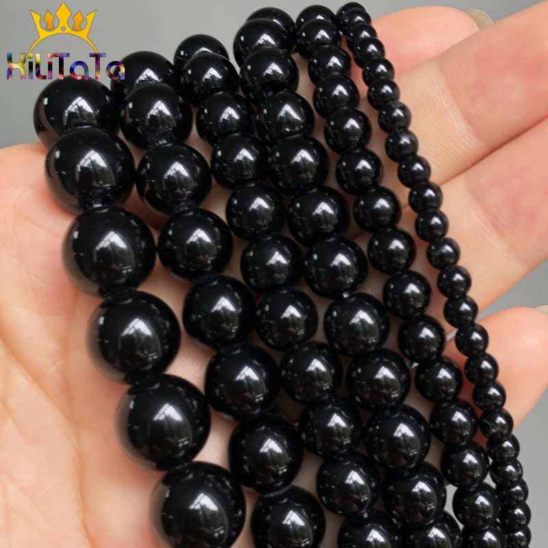 Black Glass Crystal Round Loose Spacer Beads For Jewelry Making DIY Charm Bracelet Necklace 15'' Strands 4/6/8/10/12mm