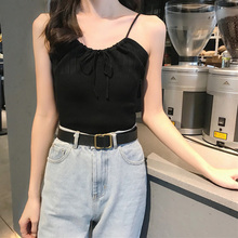 2019 Summer Sleeveless Sexy V Neck Drawstring Bow Camis Casual Solid Color Women Tops Fashion Slim Camisole Knit Vest Feamle 2019 novel summer women camisole fashion sexy simple solid color vest sling loose v neck lace sleeveless camisole tops