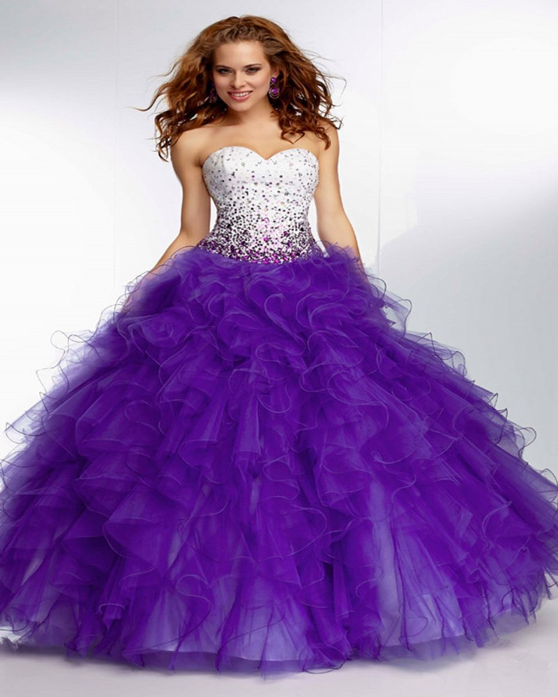 Beaded Cheap Organza Beach Wedding Dresses China Ball Gown: Fashionable 2016 Violets Ball Gown Quinceanera Dresses