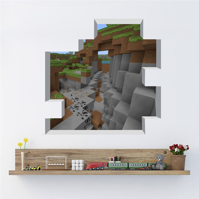 Us 3 62 20 Off 3d View Minecraft Game Theme Wall Stickers Decals For Kids Room Home Decoration Diy Boy S Bedroom Wall Mural Art Pvc Posters In Wall