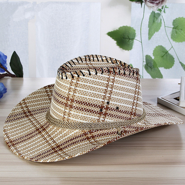Men Plaid Straw Cowboy Hat With Rope Women Wide Brim Western Cap Chin Strap  Cowgirl Sun 71e92e036fa7