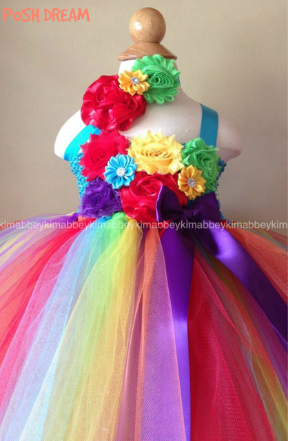 POSH DREAM Rainbow Flower Beautiful Baby Girl First Birthday Tutu Dress Smash Cake In Children Girls Dresses