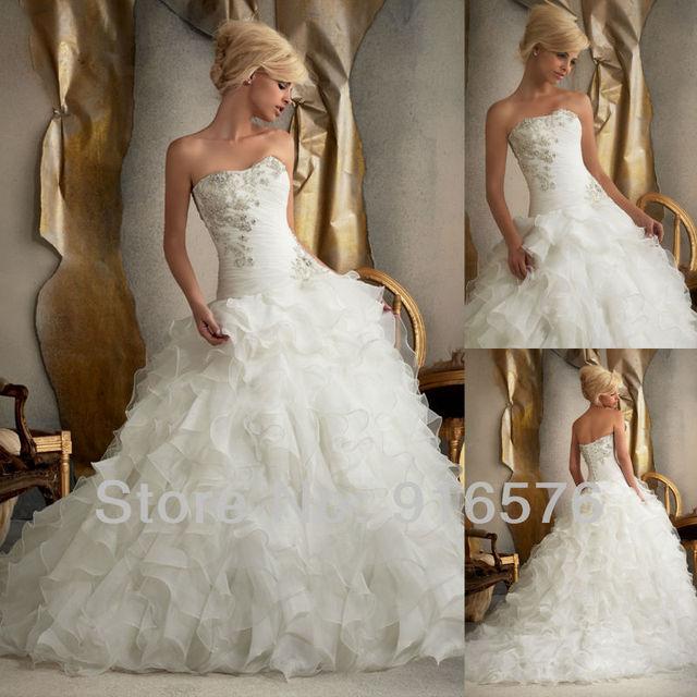 Ball Gown Long Sleeve Beaded Crystal Applique Watteau: Wedding Dress Rhinestone Appliques Beaded Corset Ball