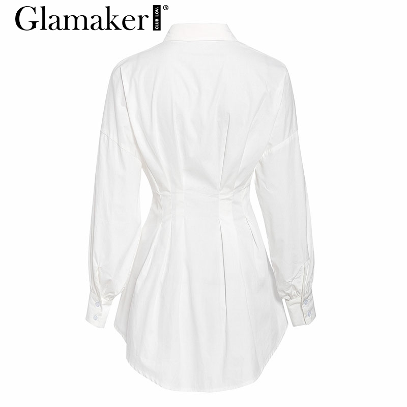 Glamaker Batwing sleeve white mini dress Women office lady pleated blouse shirt dress Autumn high waist slim elegant short dress 4