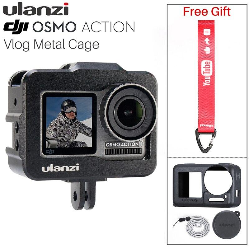 NOVA ULANZI OA-1 Vlogging Gaiola de Metal Caso para Dji Osmo Ação Vlog Caso com Sapata Fria para Microfone LED Light