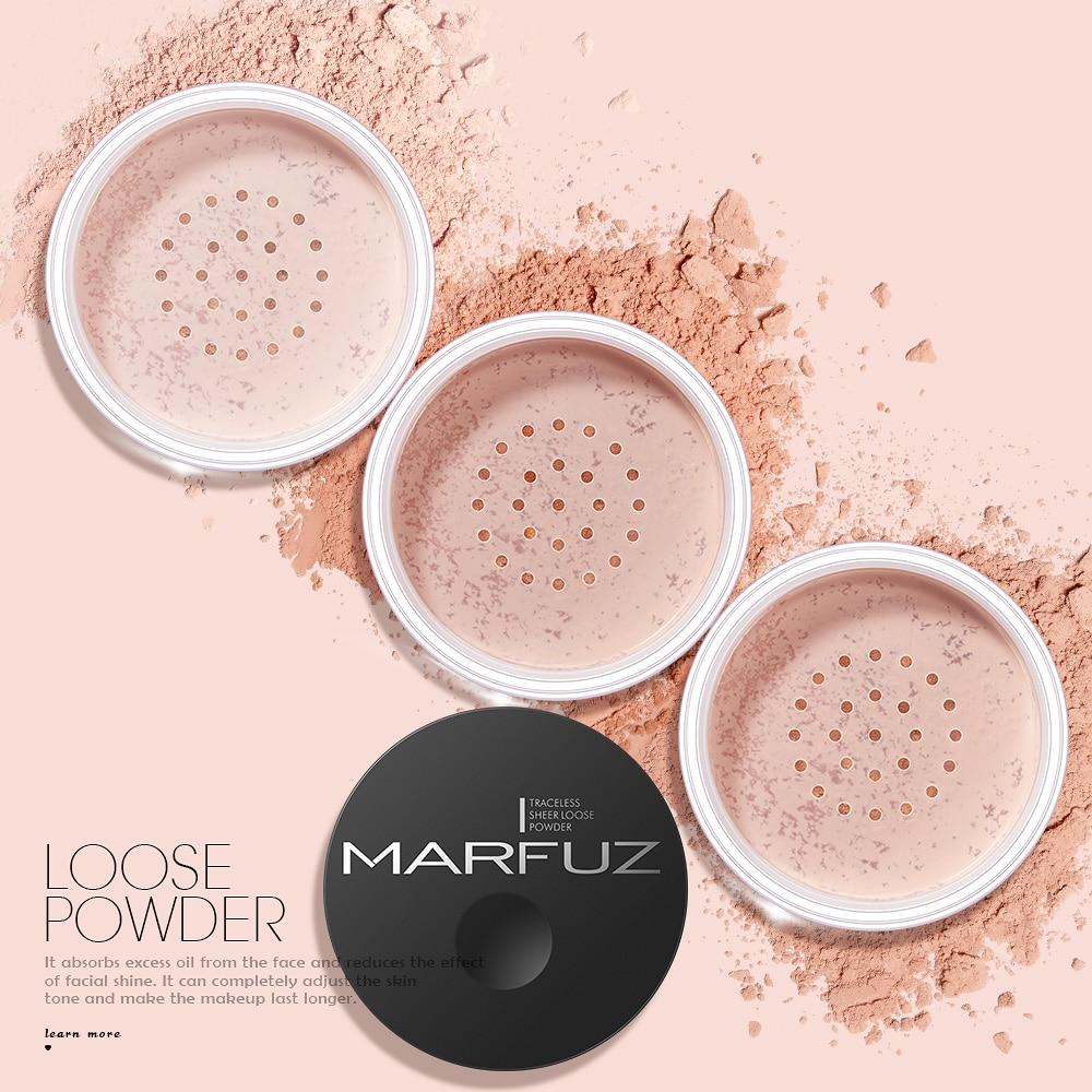 MARFUZ Cosmetics Face Loose Powder Matte Finish Setting Powder Professional Translucent Makeup Foundation Compact Powder