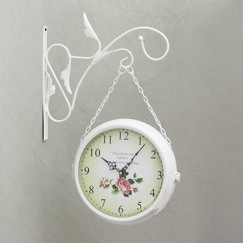 Двухсторонний настенные часы современный Дизайн кованого железа смотреть Саат большие настенные часы Relogio де Parede Reloj де сравнению Horloge murale