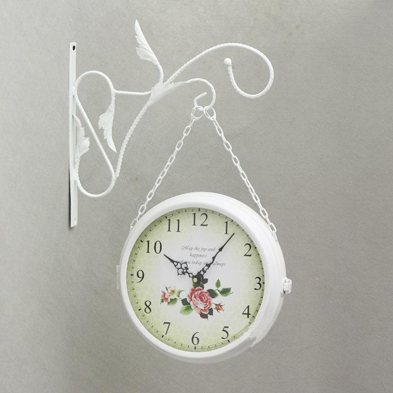 Double Sided Wall Clock Modern Design Wrought Iron Watch Saat Large Wall Clocks Relogio De Parede Reloj De Pared Horloge Murale