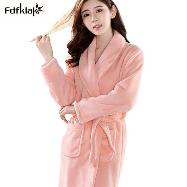 e1ece8fc6a New Flannel fleece thickening warm women bathrobe long sleeve autumn winter  robe casual candy color sleepwear dressing gowns