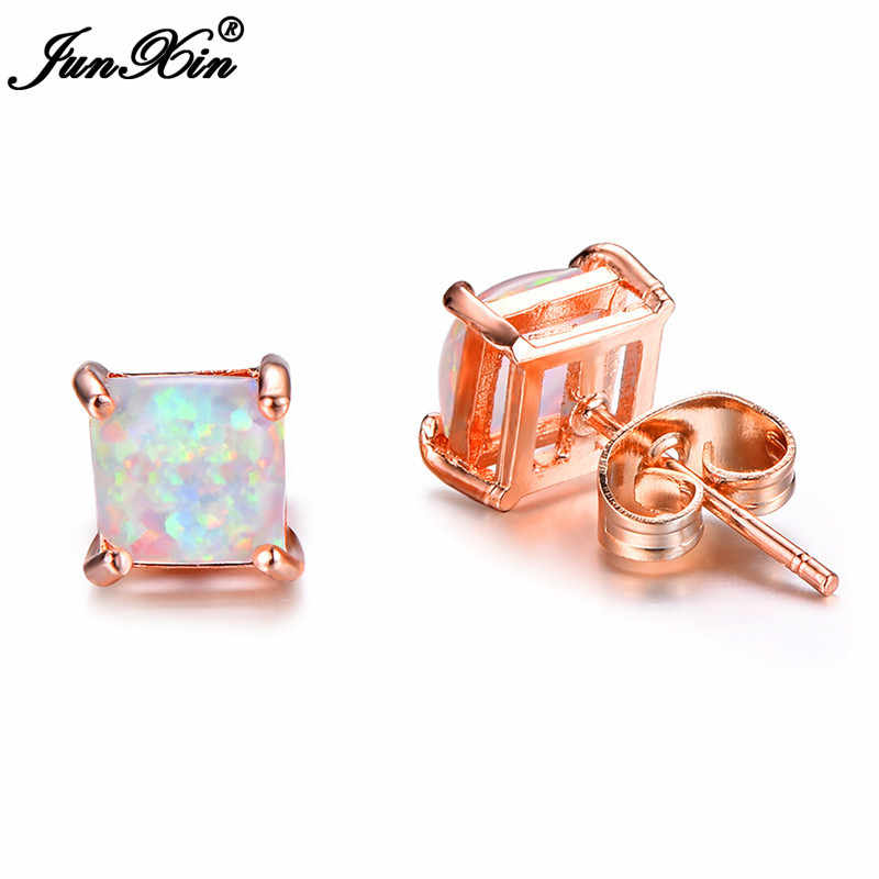 JUNXIN Fashion Female 4/5/6/7mm Square Stud Earrings Boho White Fire Opal Earrings For Women Rose Gold Filled Jewelry